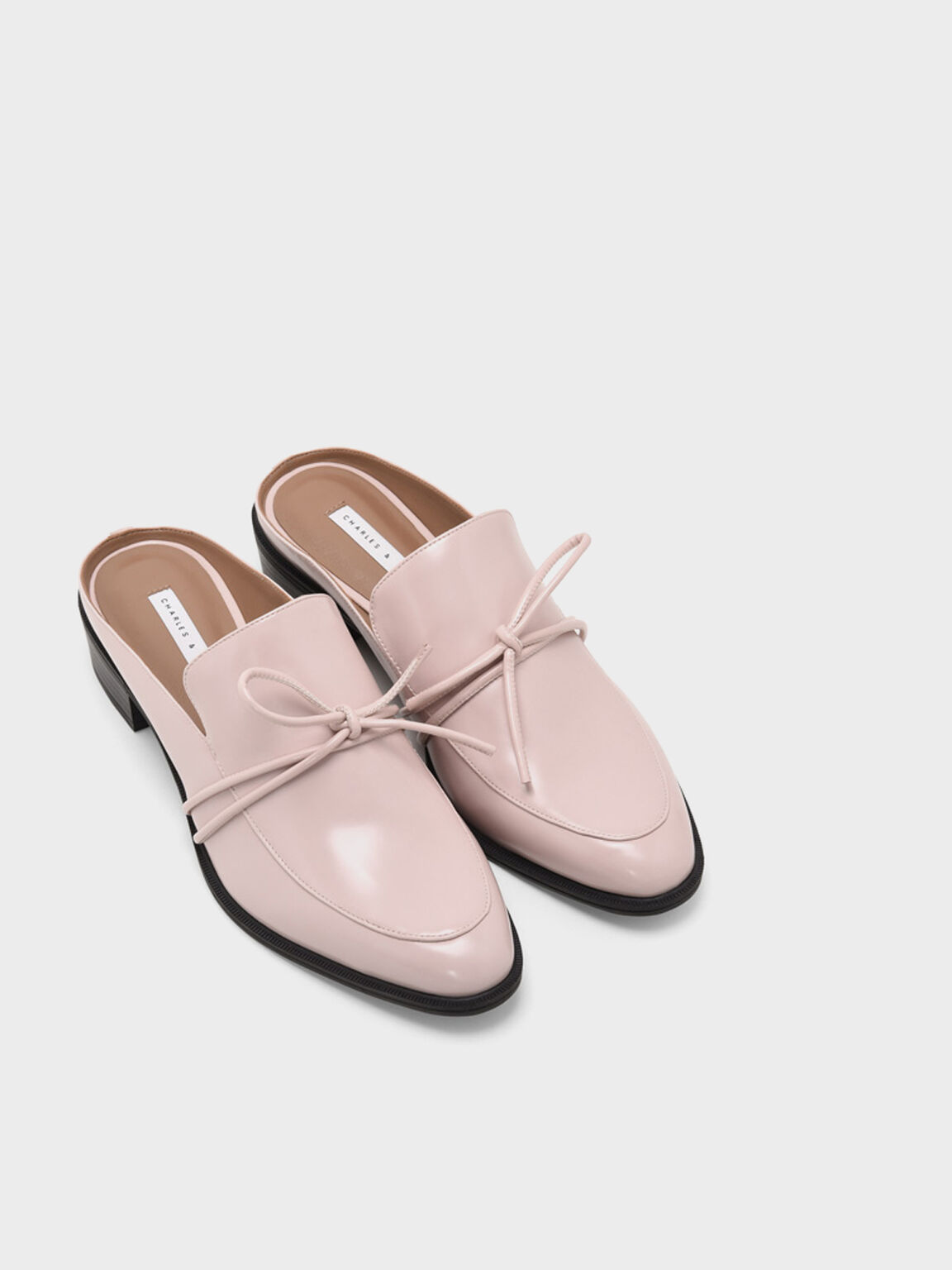 Almond Toe Knot Mules, Pink, hi-res