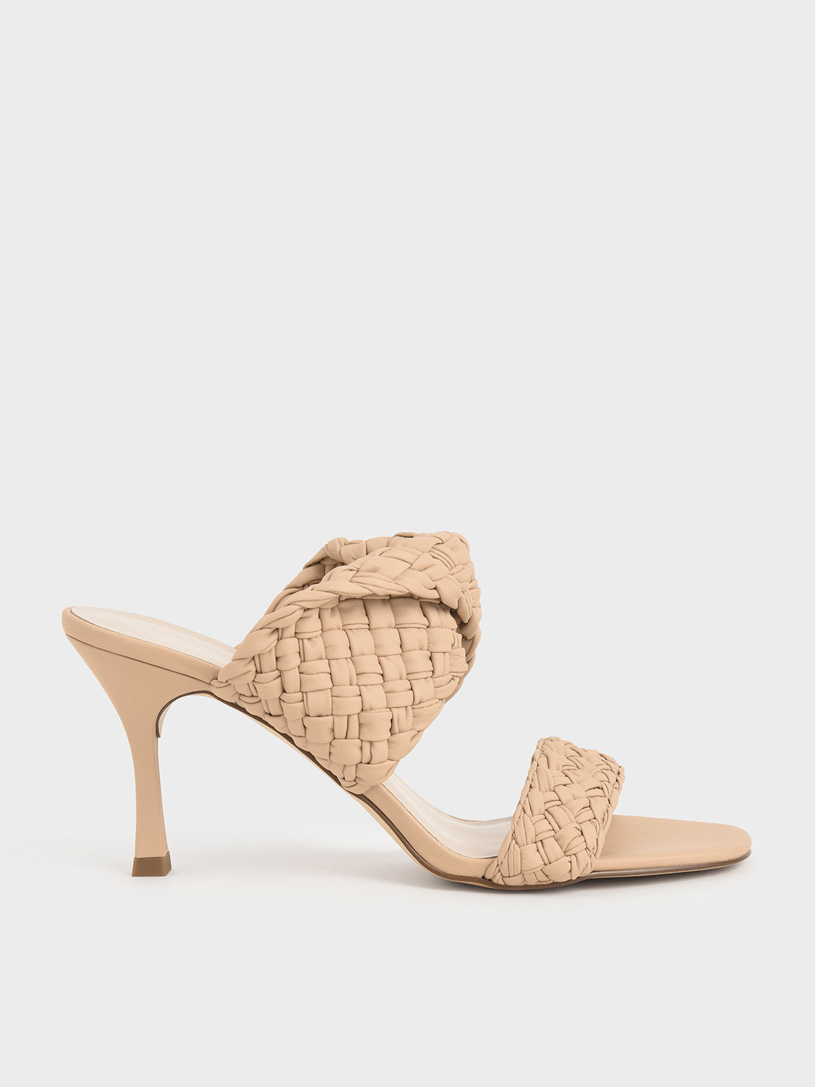 Double Strap Woven Heeled Mules, Nude, hi-res