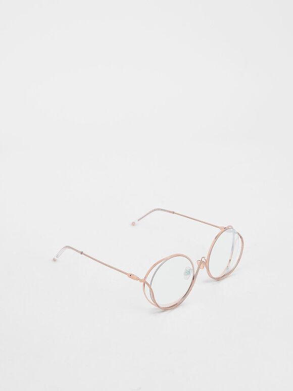 Double Rim Tinted Round Sunglasses, Pink, hi-res