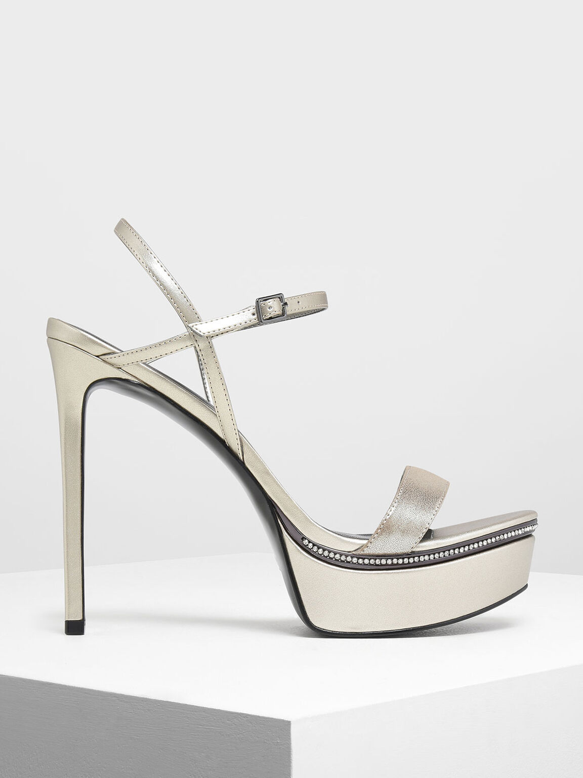 Gem Encrusted Metallic Platform Heels, Silver, hi-res