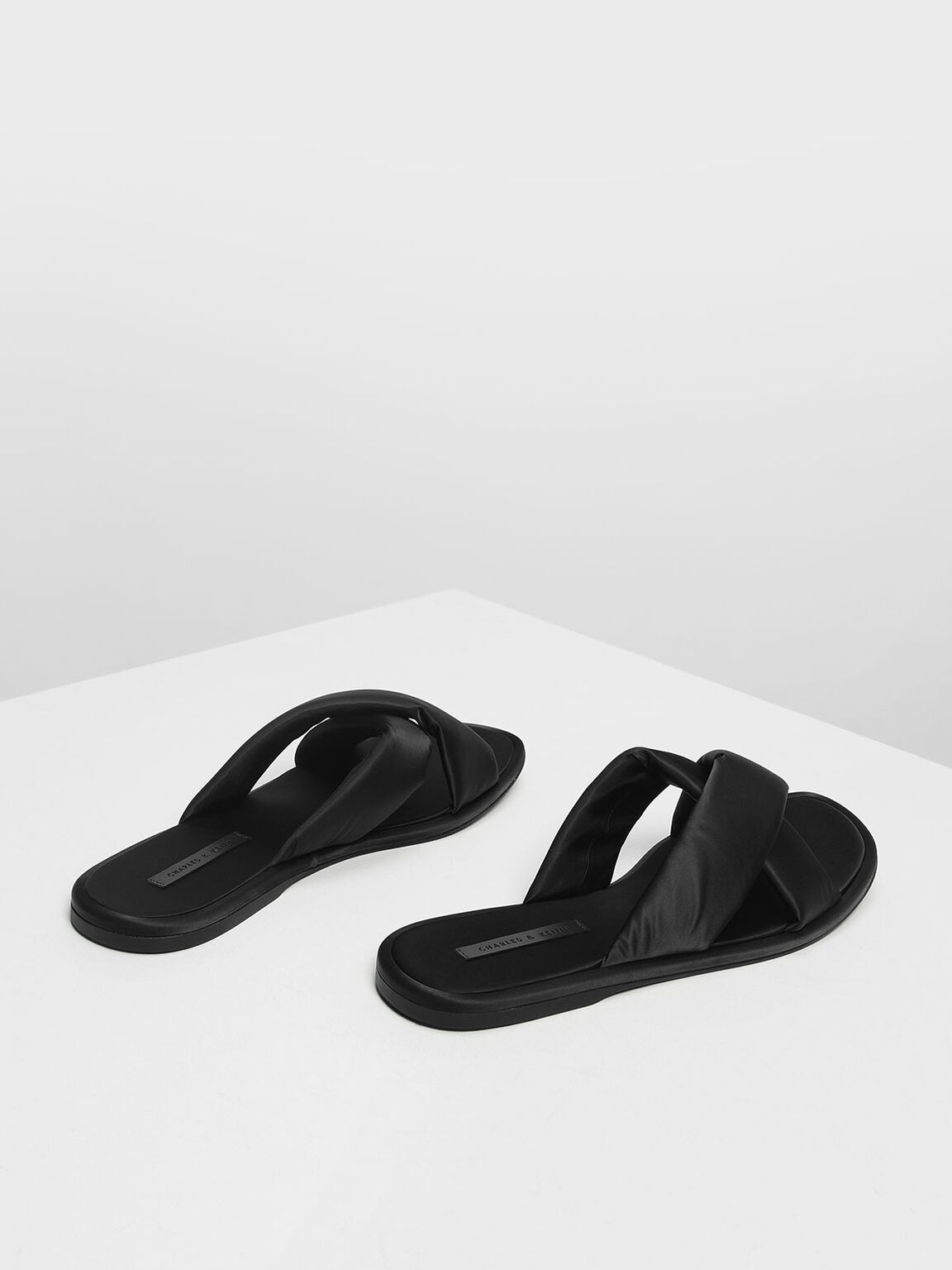 Puffed Crossband Sliders, Black, hi-res