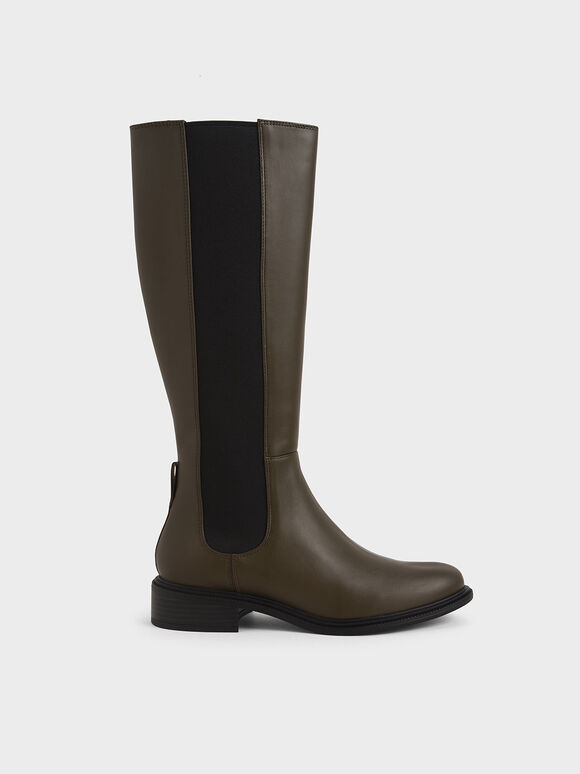 Knee High Chelsea Boots, Olive, hi-res