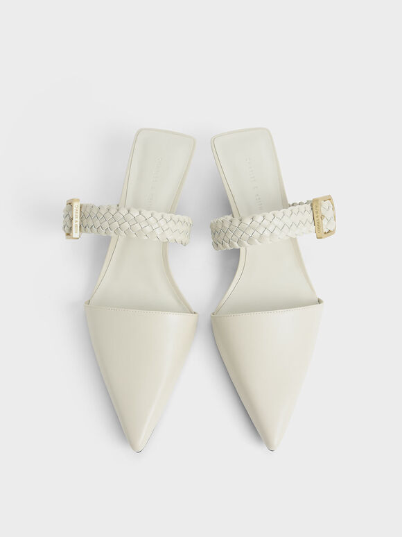 編織帶穆勒鞋, 石灰白, hi-res