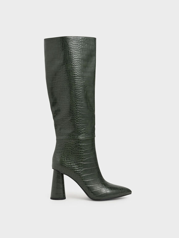 Croc-Effect Knee High Heeled Boots, Green, hi-res