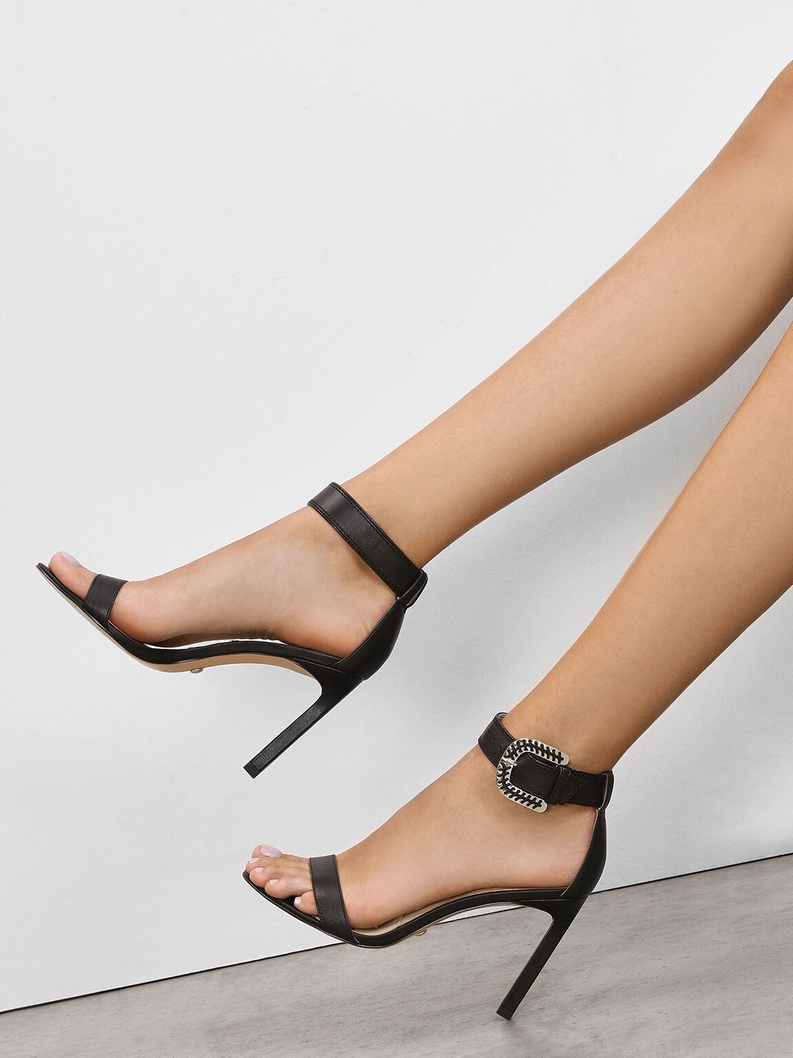 Leather Stitch Detail Buckle Ankle Strap Sandals, Black, hi-res