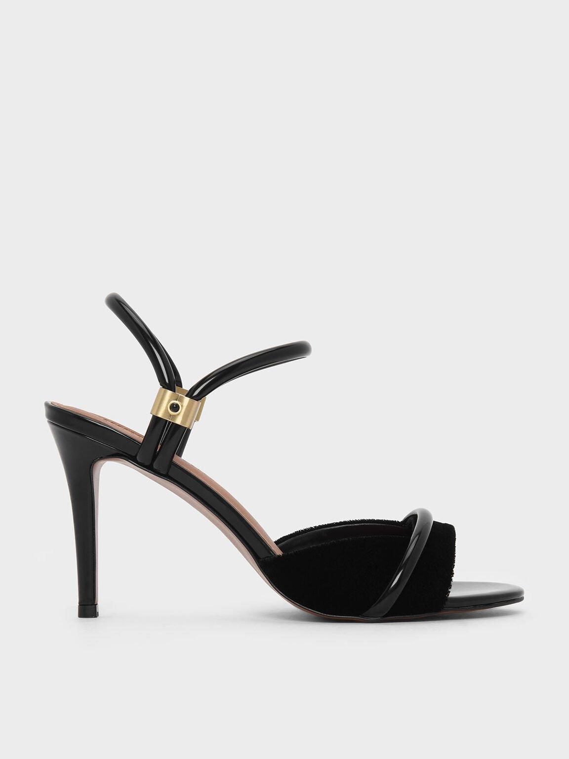 雙踝帶高跟涼鞋, 黑色, hi-res