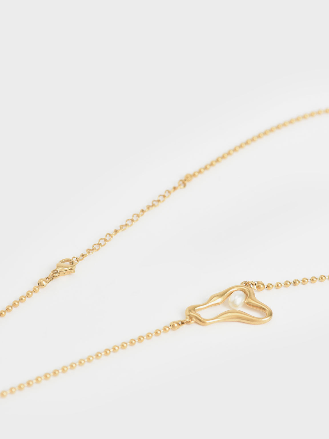 Sculpted Pendant Bead Necklace, Brush Gold, hi-res