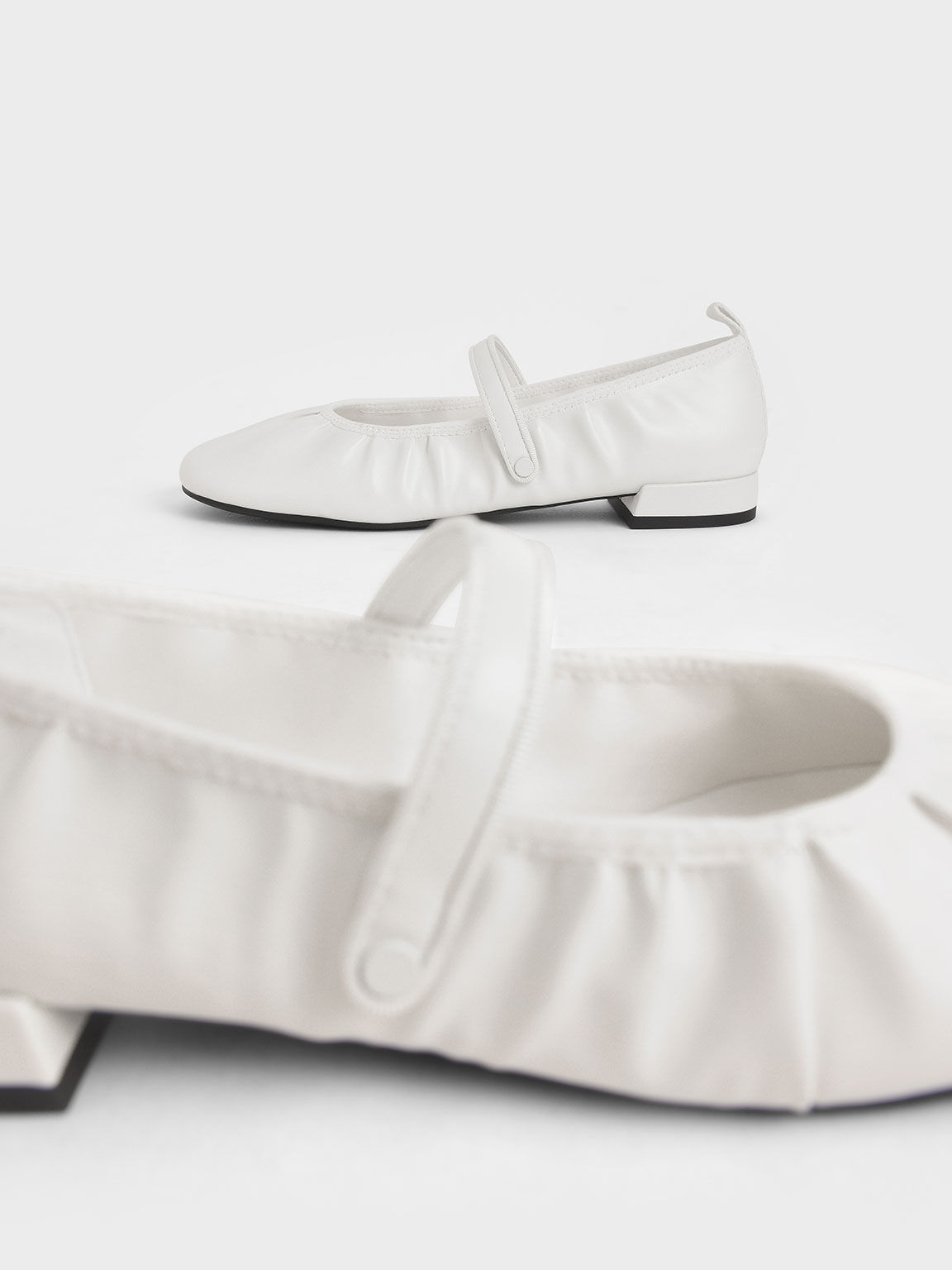 Mary Jane Flats, White, hi-res