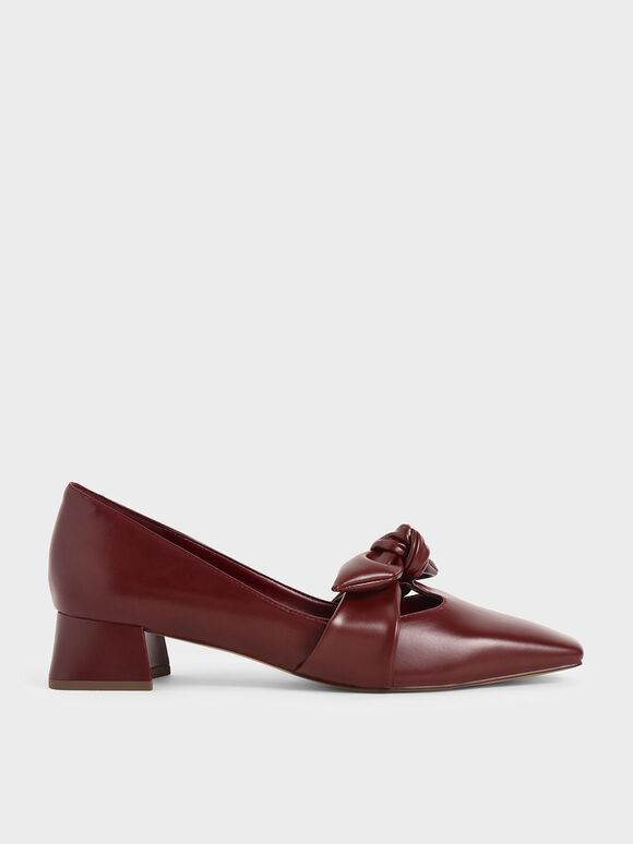 Knotted Strap Pumps, Burgundy, hi-res