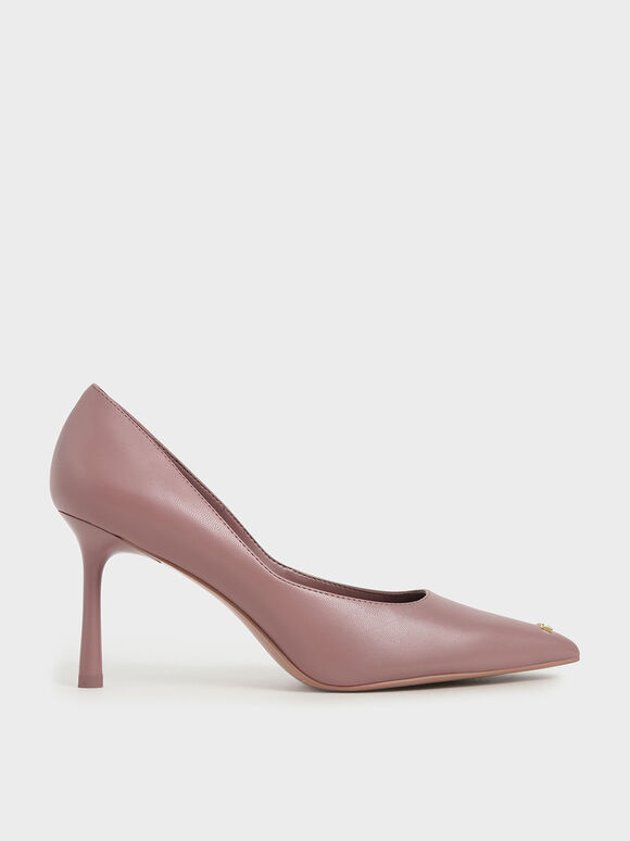 'Love' Metallic Accent Pumps, Pink, hi-res