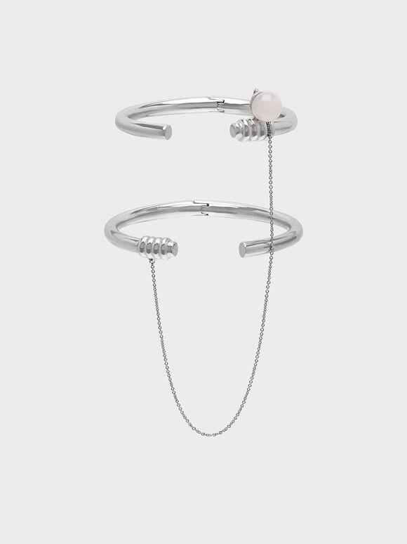 Rose Quartz Chain Link Bracelet, Silver, hi-res