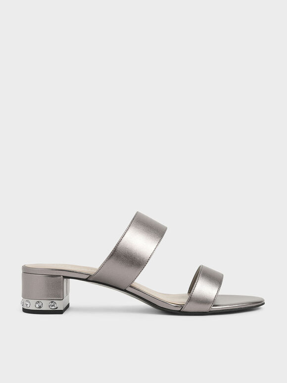 Embellished Block Heel Metallic Slide Sandals, Pewter, hi-res