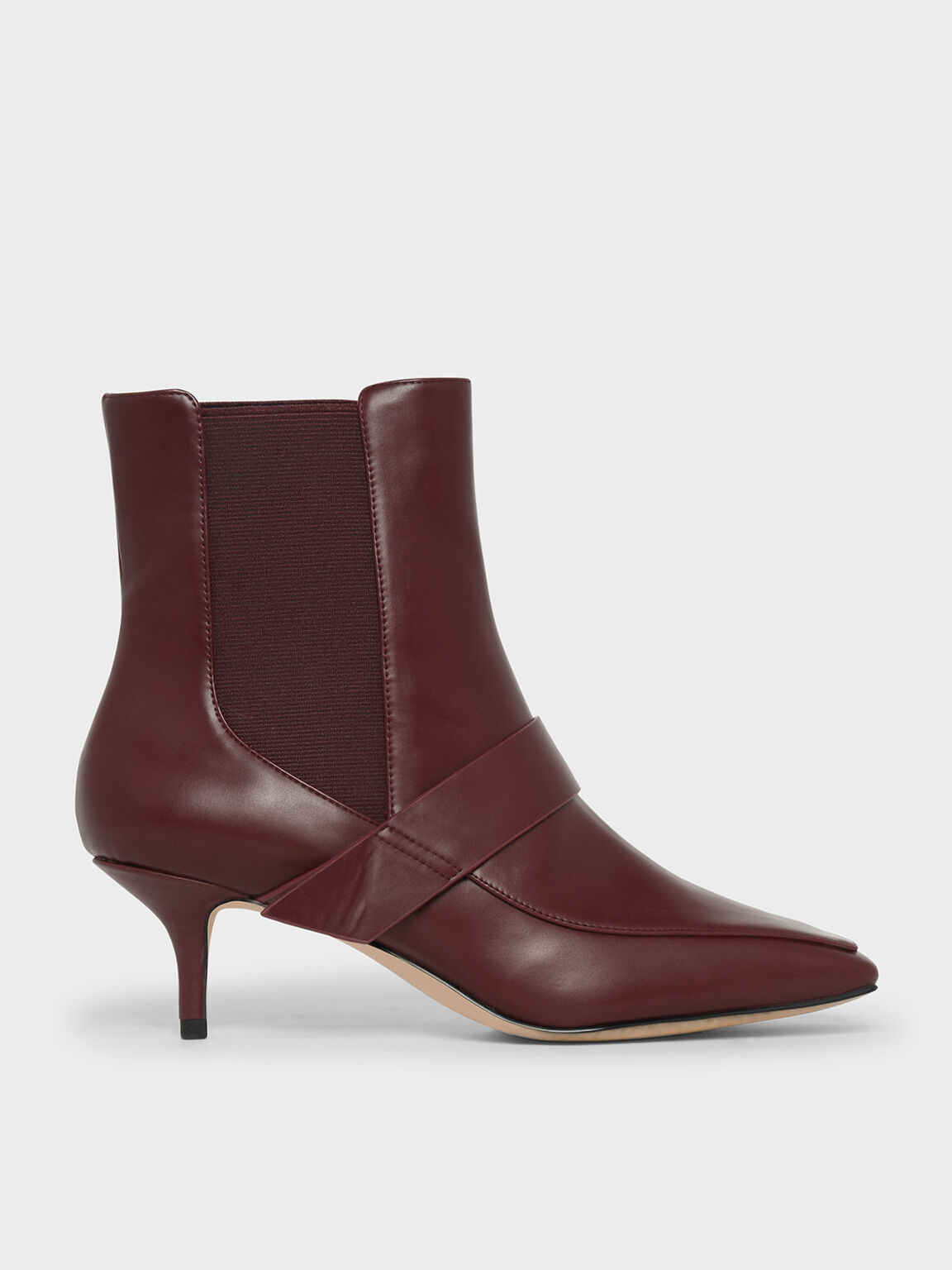 Square Toe Kitten Heel Boots, Burgundy, hi-res