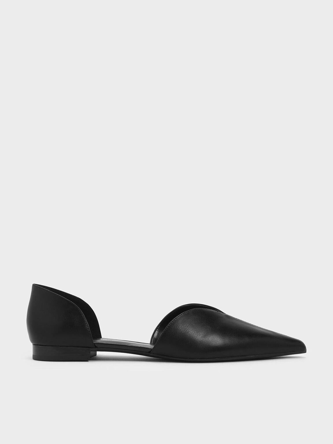 Sweetheart Cut D'Orsay Flats, Black, hi-res