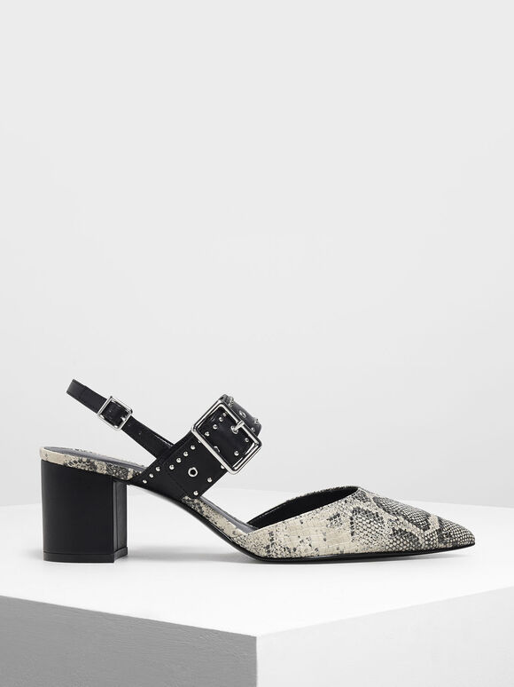 鉚釘尖頭低跟鞋, 灰色, hi-res