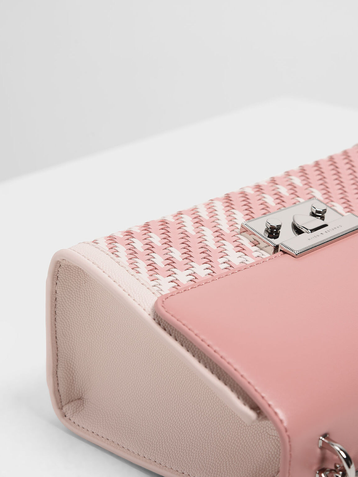 Woven Detail Clutch, Light Pink, hi-res