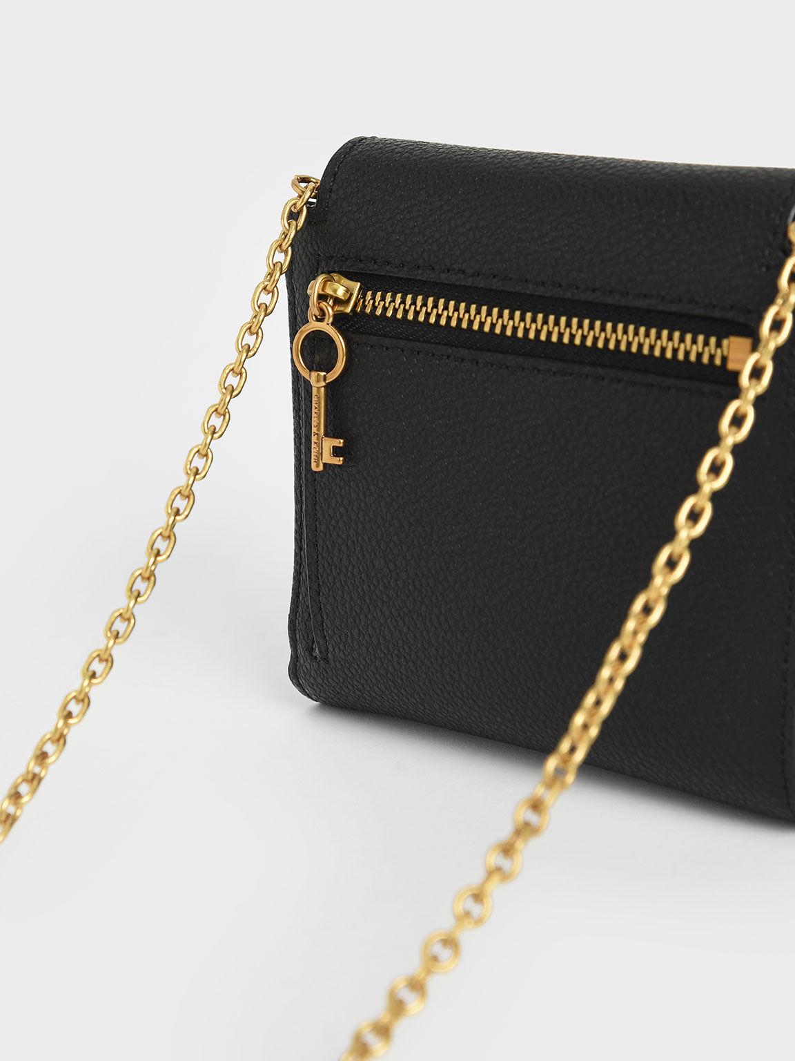 Metallic Push-Lock Short Wallet, Black, hi-res