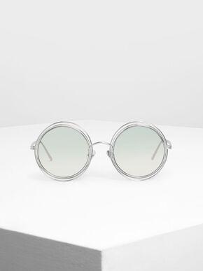 Cutout Frame Round Sunglasses, Silver