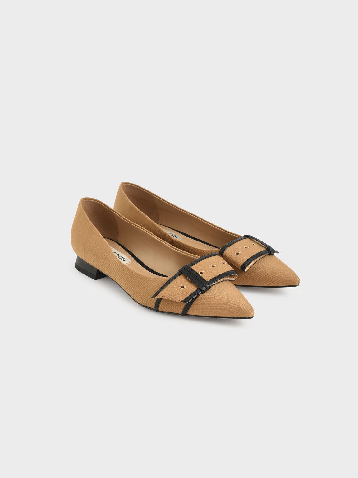 Twill Eyelet-Embellished Ballerina Flats, Camel, hi-res