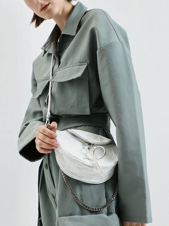 Wrinkled Effect Ring Zip Tassel Crossbody Bag, White, hi-res