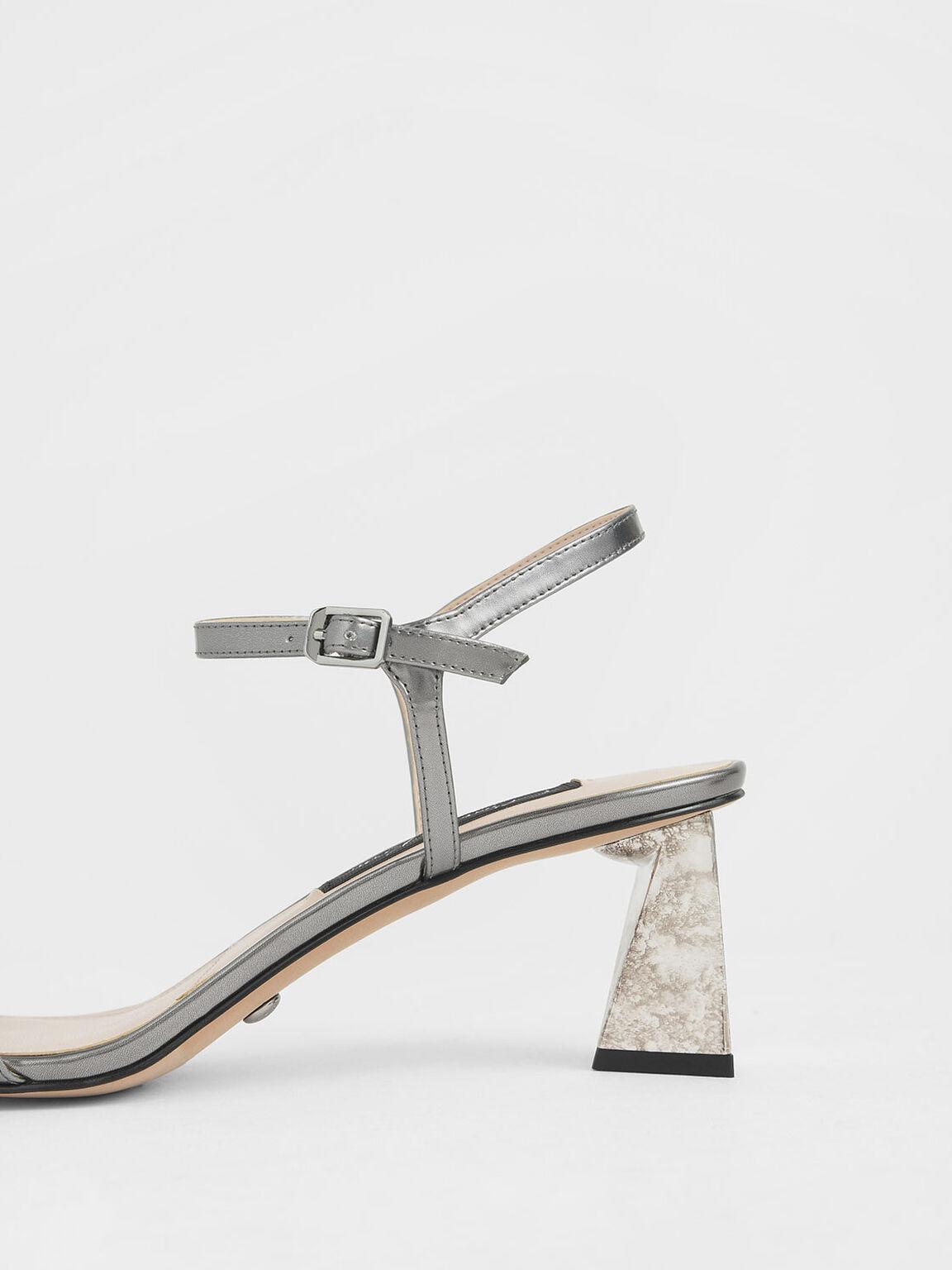 Metallic Leather Chrome Heel Sandals, Silver, hi-res