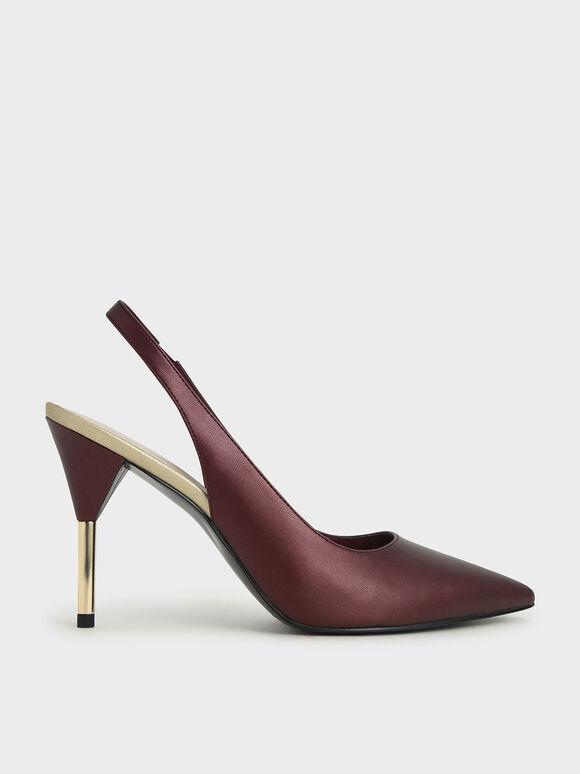 後踝帶金屬細跟鞋, 紅色, hi-res