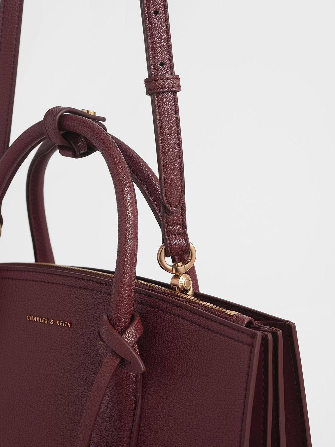 Large Structured Tote Bag, Burgundy, hi-res