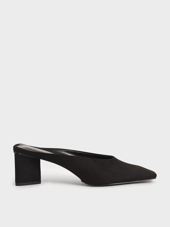 Textured Square Toe Mules, Black, hi-res