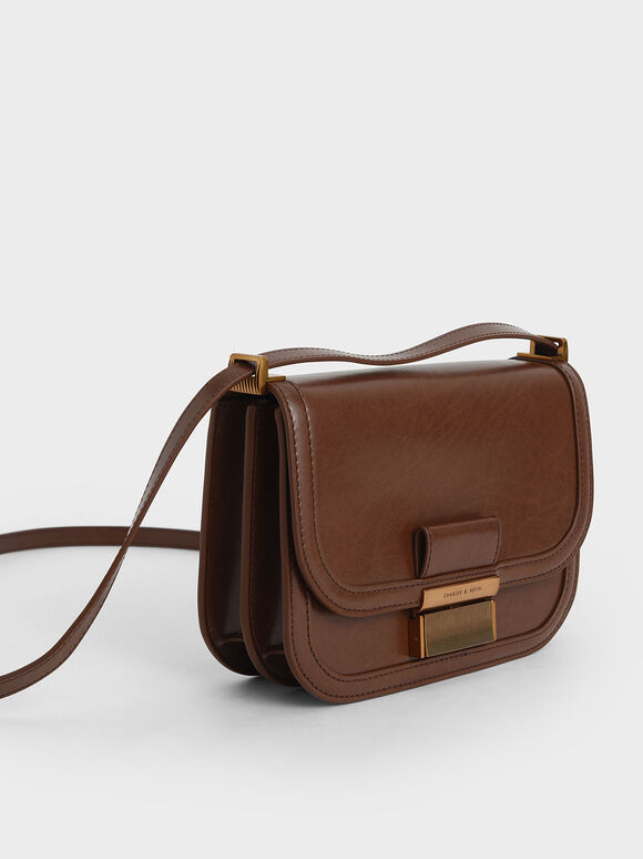 Metallic Push-Lock Crossbody Bag, Dark Brown, hi-res