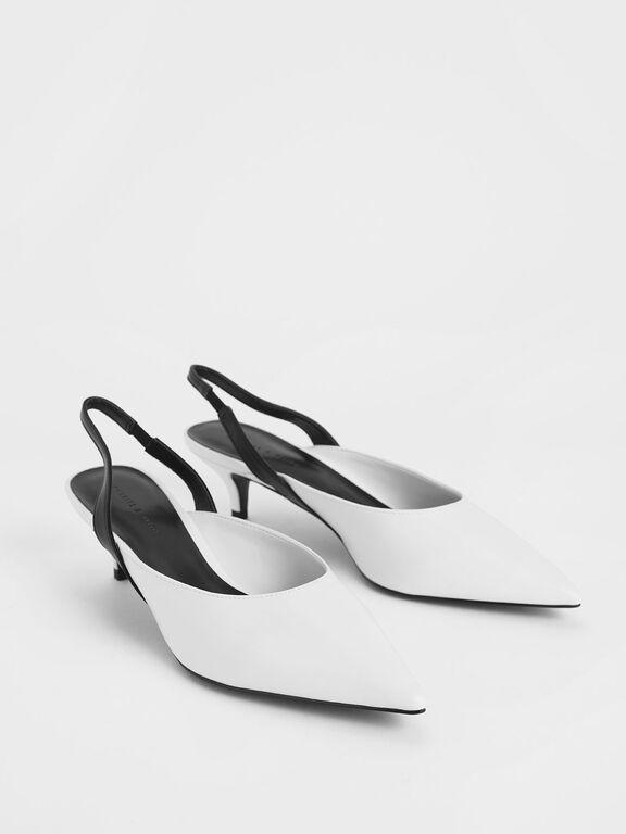 Two-Tone Pointed Toe Slingback Kitten Heels, White