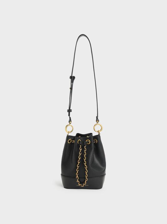 Chunky Chain Bucket Bag, Black, hi-res