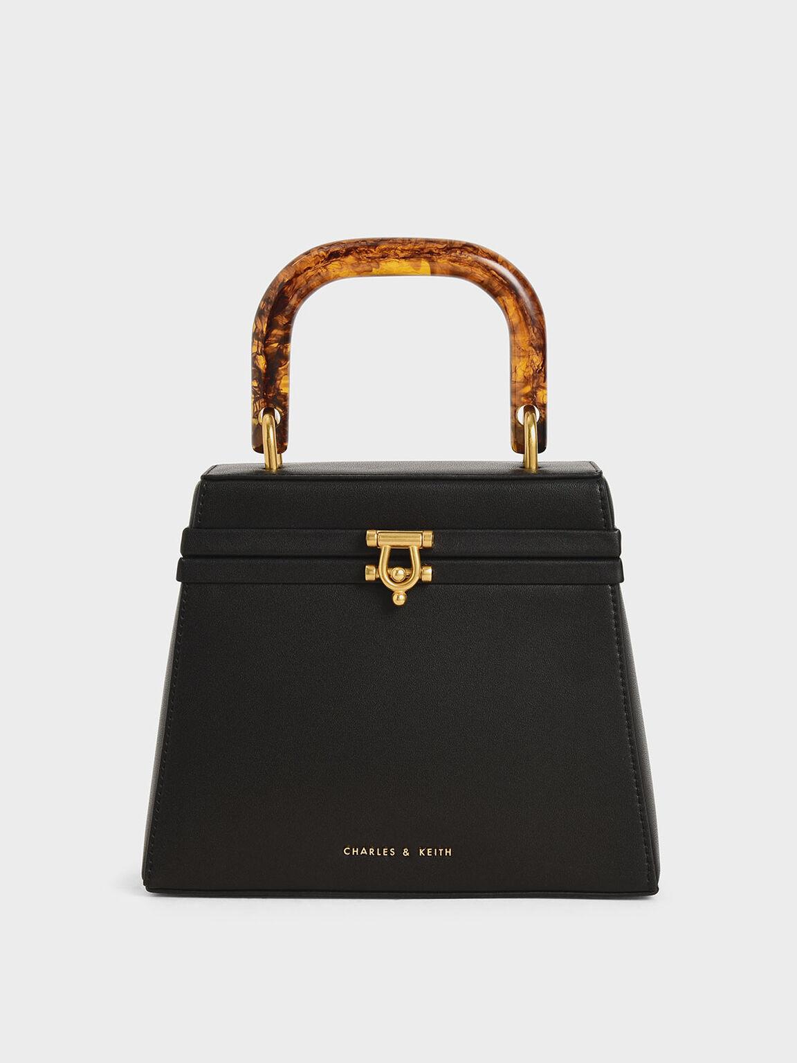 Tortoiseshell Top Handle Bag, Black, hi-res