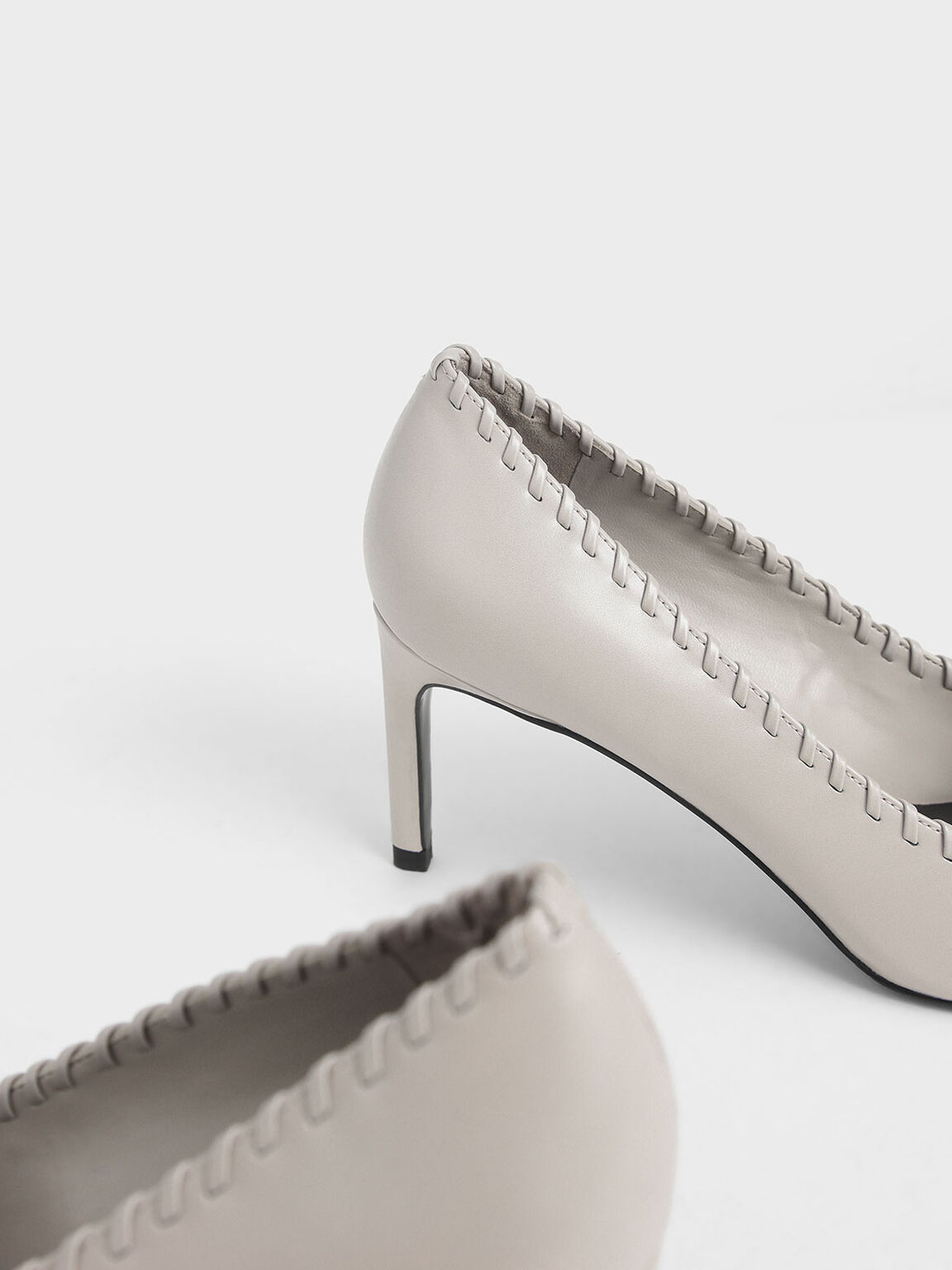 Whipstitch Trim Pumps, Nude, hi-res
