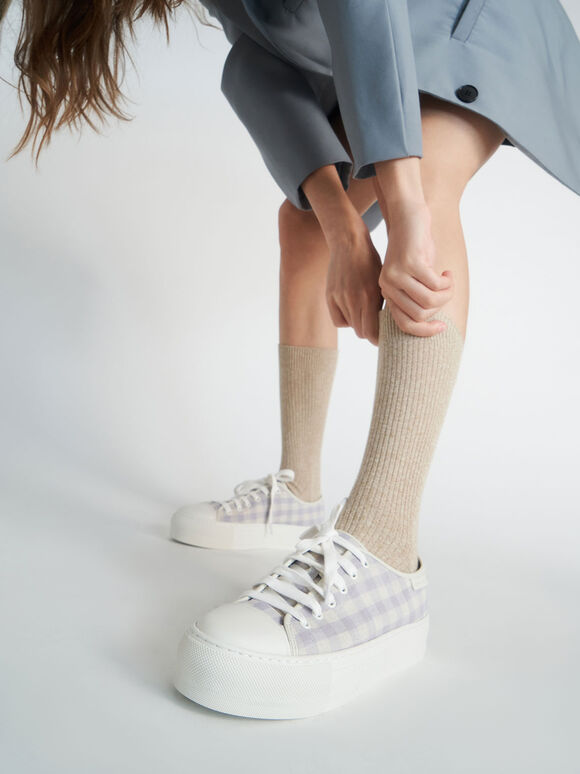 Woven Gingham Sneakers, Lilac Grey, hi-res