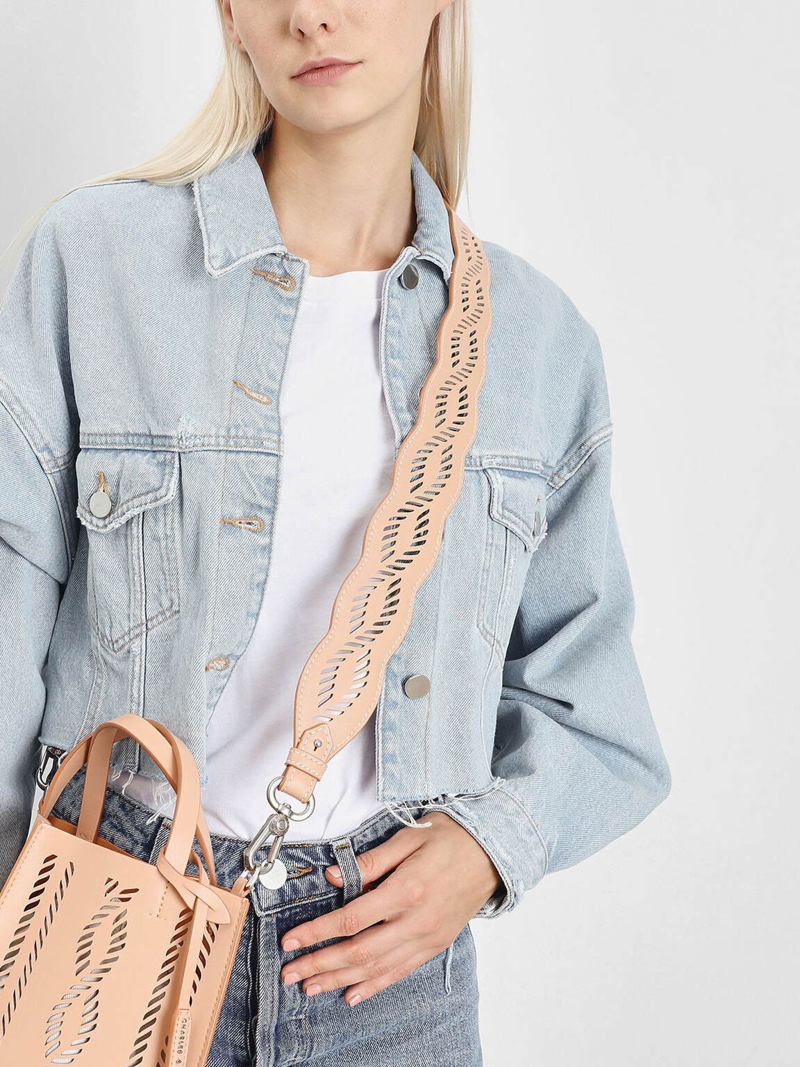 Laser Cut Bag Strap, Beige, hi-res