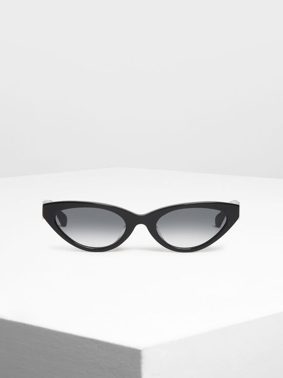 Acetate Oval Frame Sunglasses, Black, hi-res