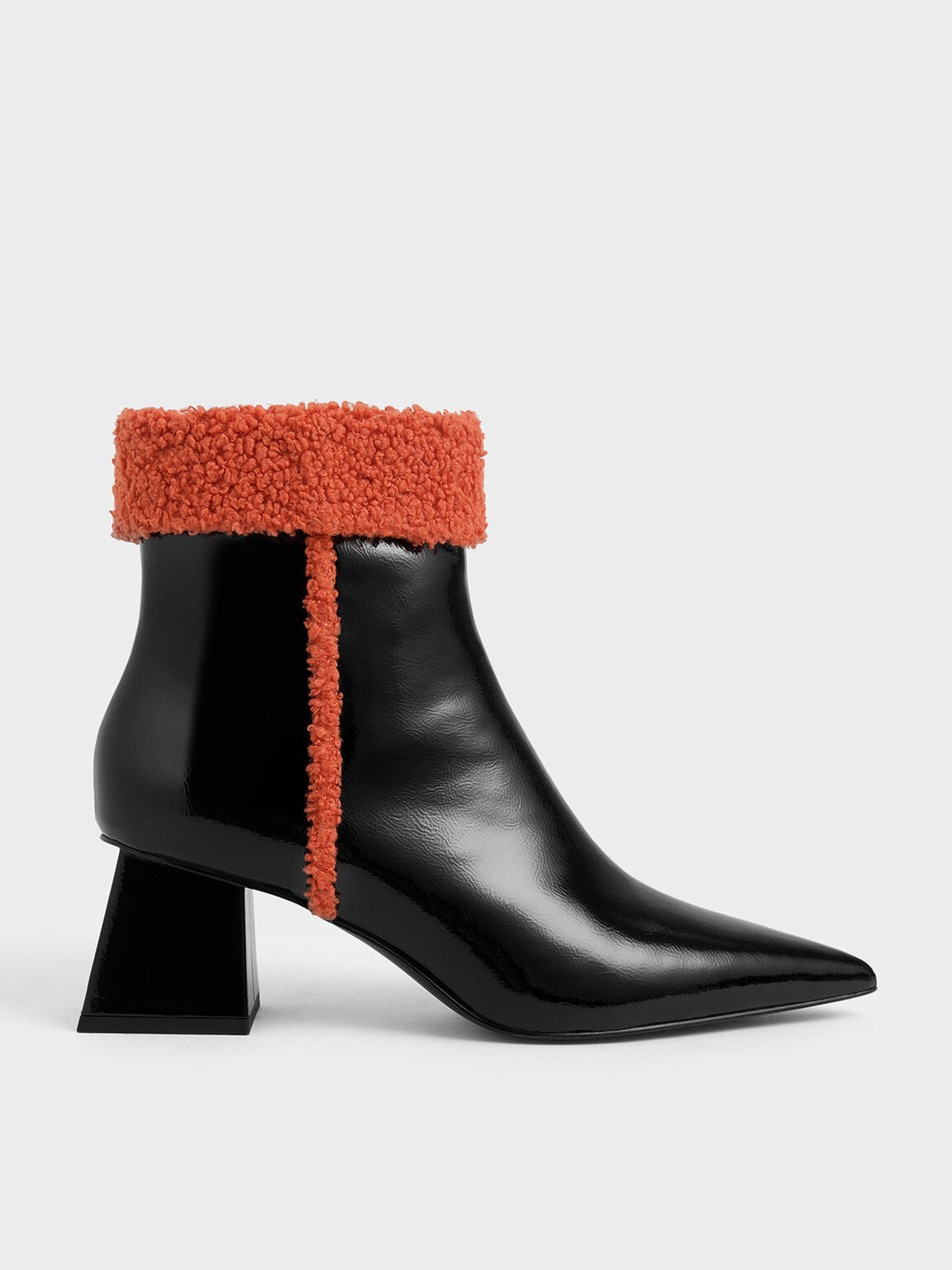 Textured Ankle Cuff Patent Boots, Black, hi-res