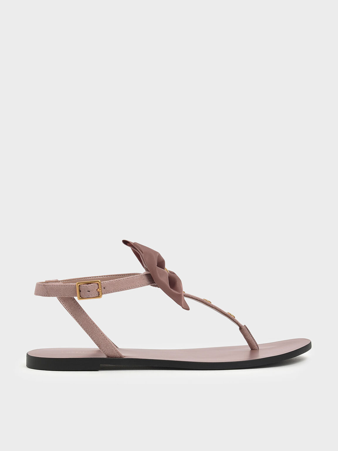 Textured Oversized Bow Studded Thong Sandals, Nude, hi-res