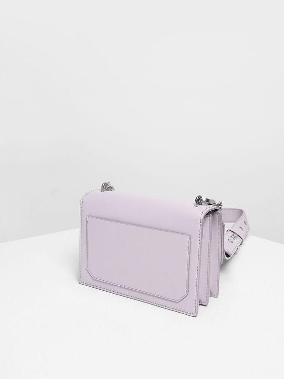 Metallic Accent Push Lock Bag, Lilac, hi-res