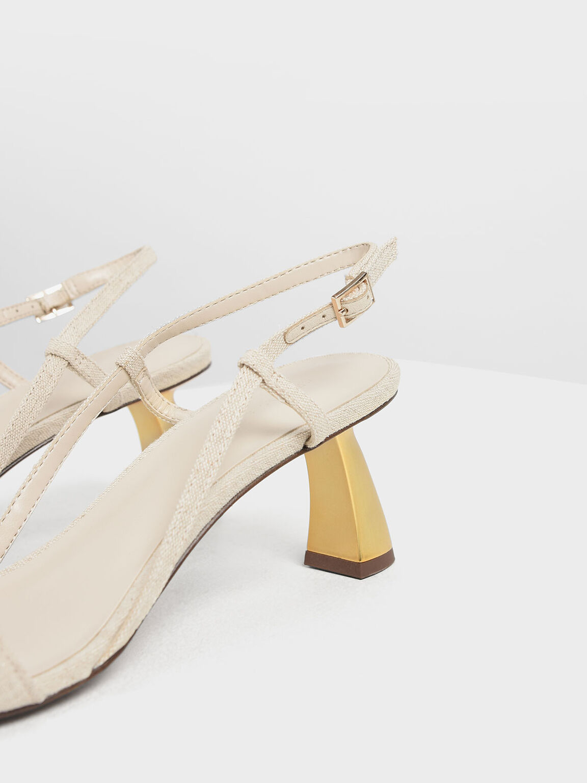 Sculptural Heel Strappy Sandals, Taupe, hi-res
