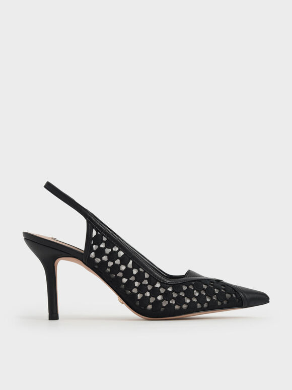 真皮蕾絲細跟鞋, 黑色, hi-res