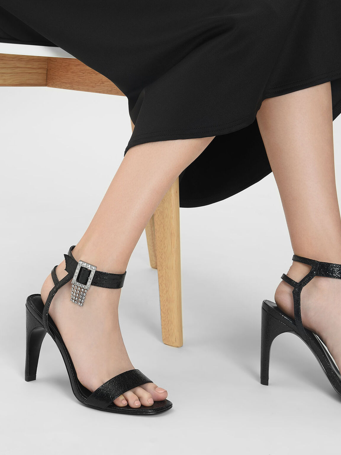 Embellished Buckle Metallic Heeled Sandals, Black, hi-res