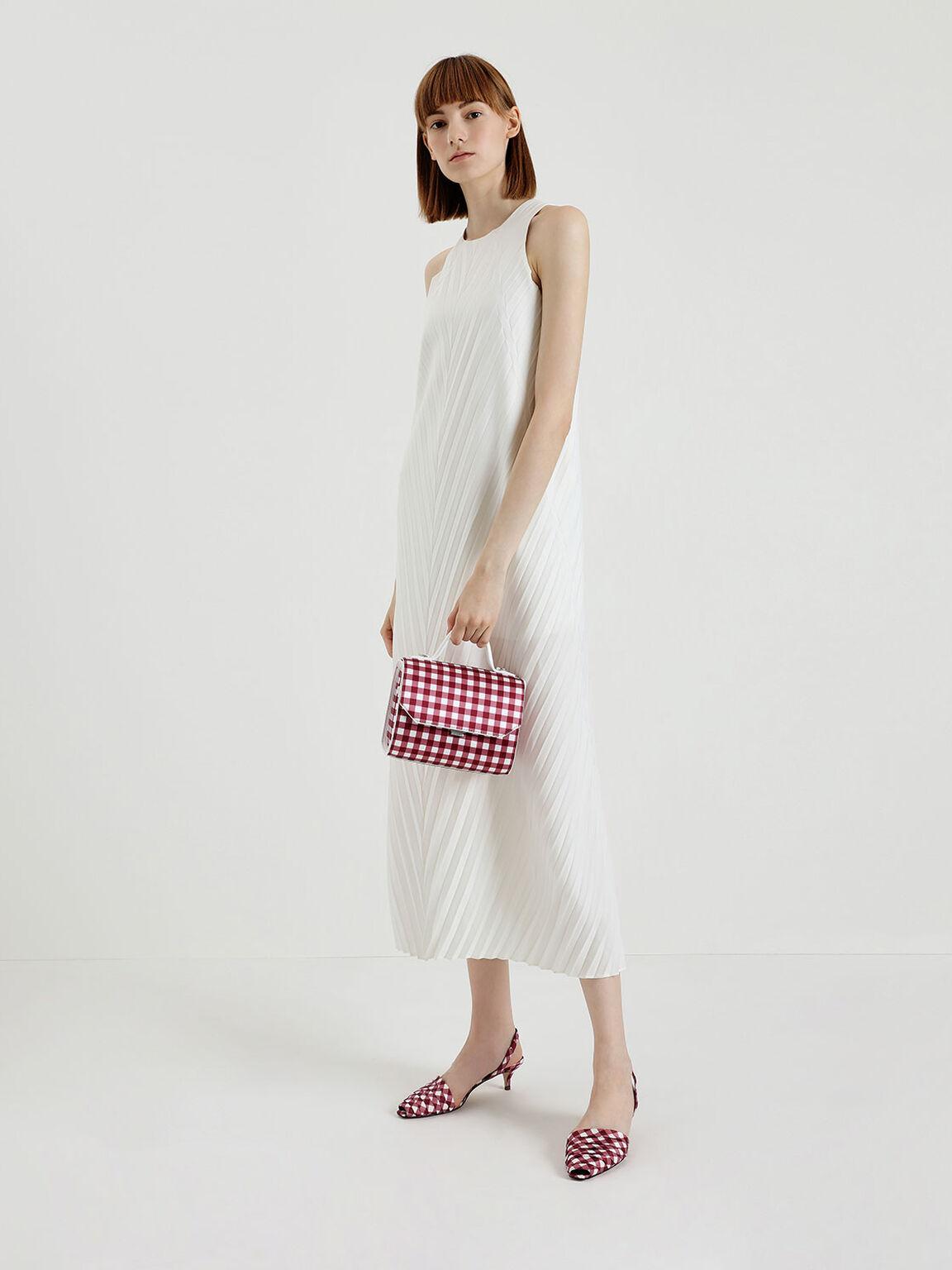 Single Handle Check Print Bag, Red, hi-res