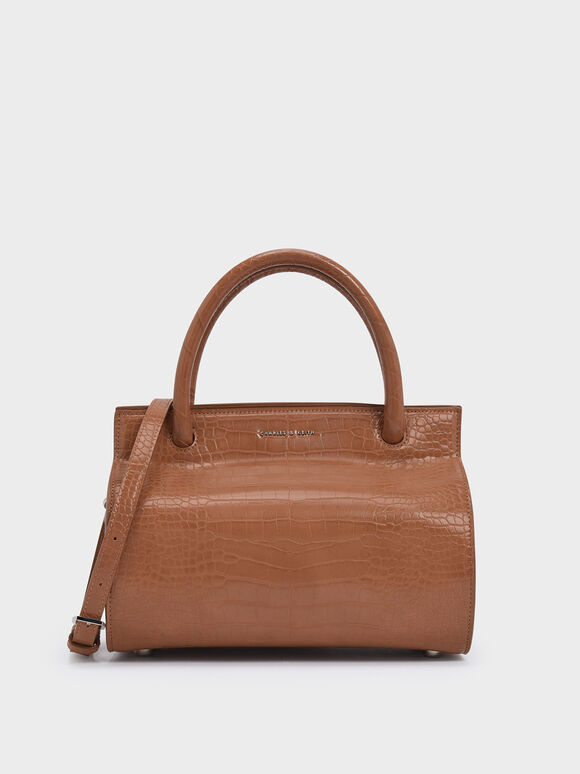 Croc-Effect Double Top Handle Structured Bag, Tan, hi-res