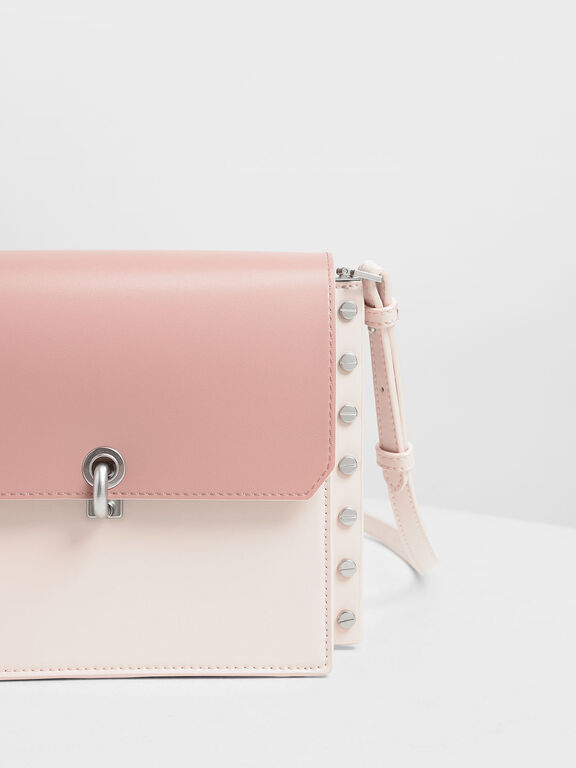 Reversible Flap Crossbody Bag, Light Pink, hi-res