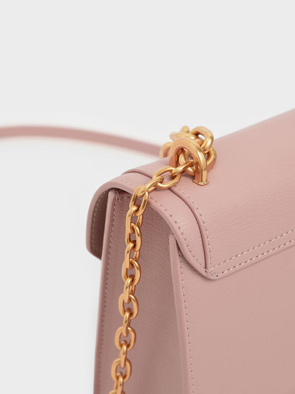 Chain Link Embossed Crossbody Bag, Nude