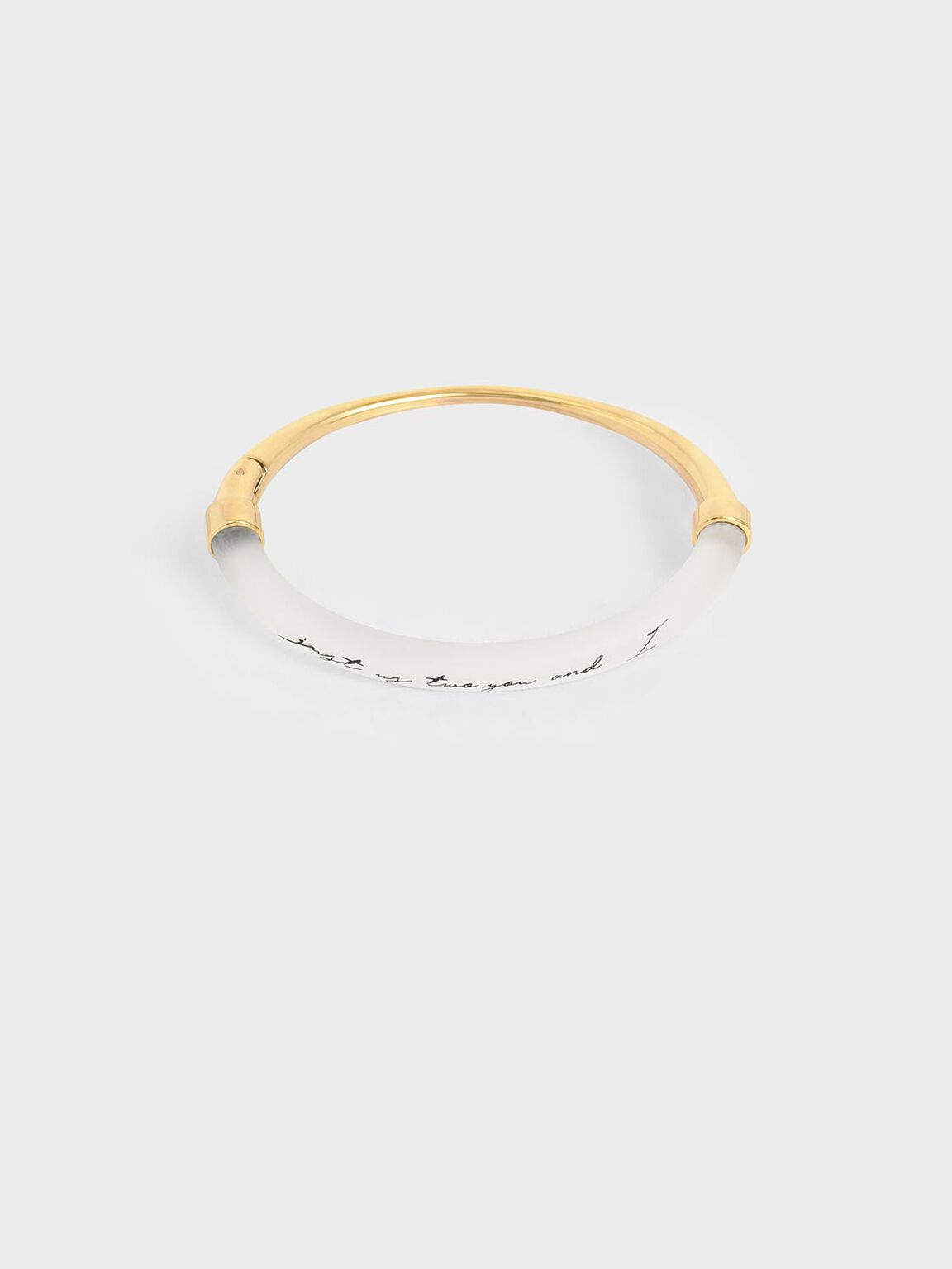 """Just Us Two, You And I"" Printed Bracelet, Gold, hi-res"