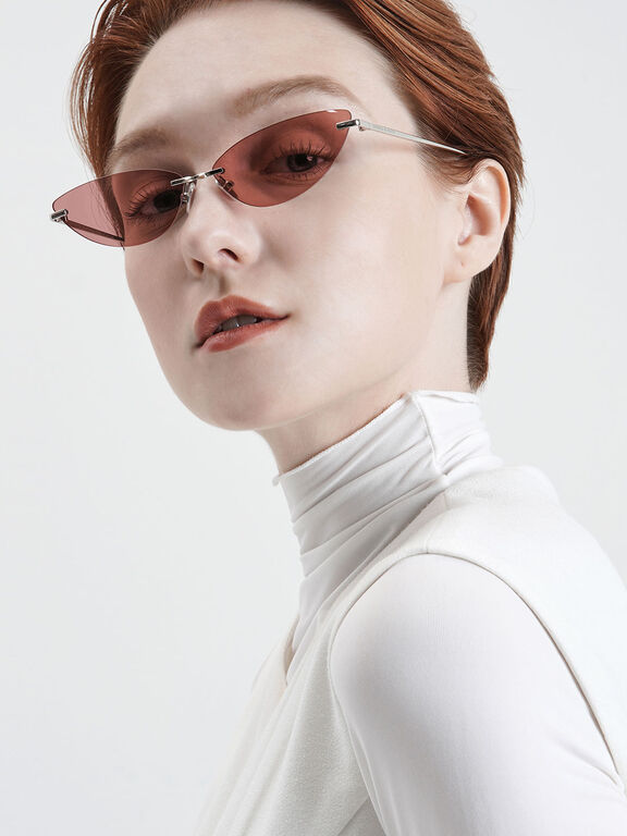 Rimless Cat-Eye Sunglasses, Red, hi-res