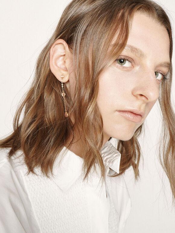 Rose Quartz Mismatched Drop Earrings, Brush Gold, hi-res