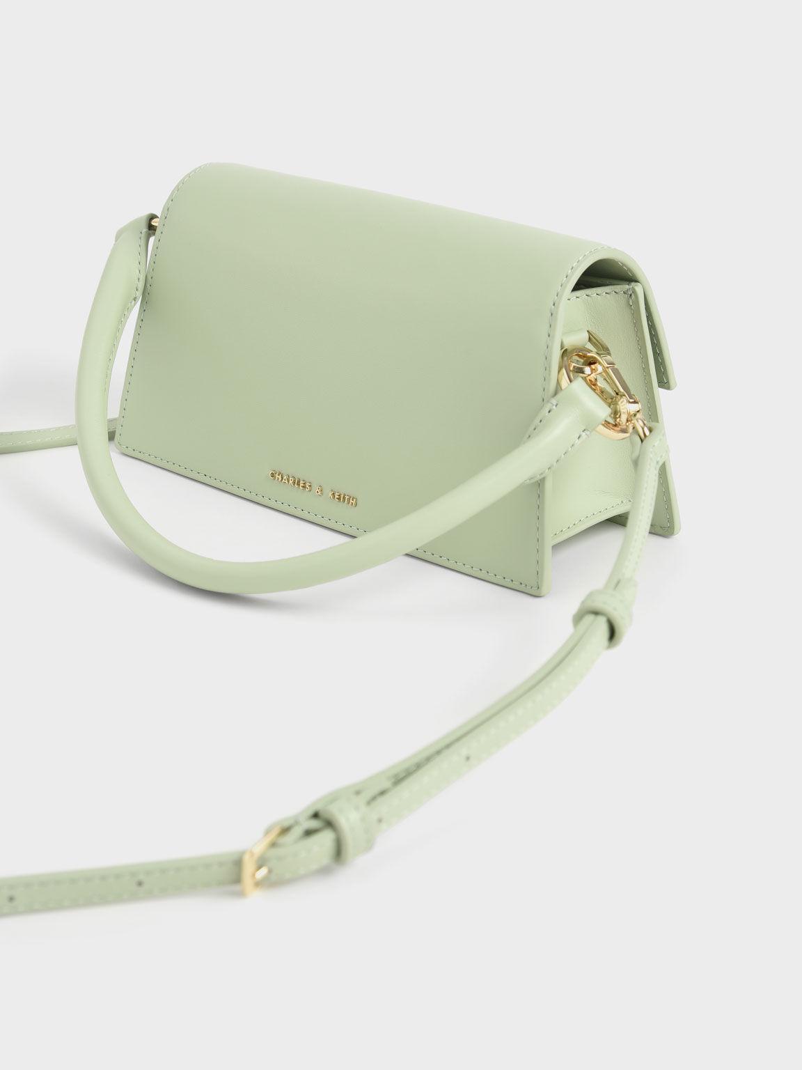 Leather Top Handle Bag, Green, hi-res